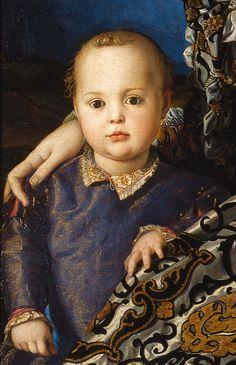 Agnolo Bronzino, 1545 - Dettaglio dal ritratto di Eleonora di Toledo col figlio Giovanni de' Medici - Galleria degli Uffizi , Firenze