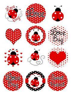 Ladybugs Polka Dots Edible Image Cupcake Toppers