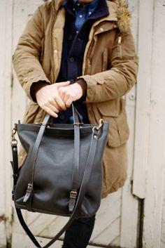 Bleu de Chauffe | Men | Leather tote bag | Nobu shopping bag | Sac cuir homme Made in France