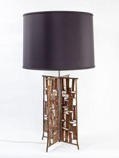 Brutalist Metal Patchwork table lamp