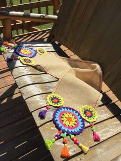 A suggest from a friend .we came up with this colorful piece of work. I'm hoping you guys are gonna like this 🌈Runner. Orders dm or visit Etsy account . Crochet Table Mat, Crochet Doily Rug, Crochet Table Runner Pattern, Crochet Rug Patterns, Crochet Fabric, Crochet Designs, Burlap Cross, Burlap Art, Burlap Garland