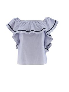 This fun blue and white striped blouse can be worn on or off the shoulder, and has a wide ruffle at the collar and down the sides. Tunics, Off The Shoulder, The Selection, Ruffles, Blue And White, Ruffle Blouse, Cotton, Shirts, Collection