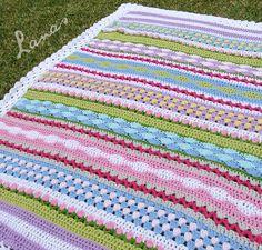 """Crochet - Free Pattern: """"Fantasy Blanket pattern"""" - Level: easy+ -  Hook: 5.0 mm (H)/4.5 mm"""