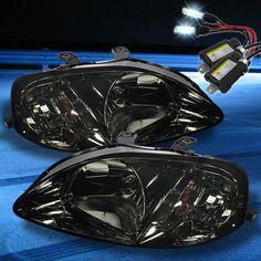 For 8000K Slim Xenon HID Kit+Smoked 99-00 Honda Civic Crystal Headlights Smoke