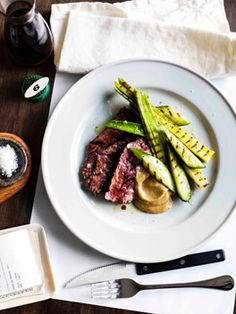 Inspiring recipe for cooking our hanger: Hanger steak with charred cucumber & garlic purée by Chef Mark Best at Pei Modern in Melbourne