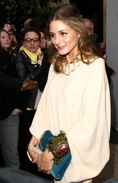 OliviaPalermo love colour and fabric drape contrast texture with bpld cuff and coloured velvet clutch