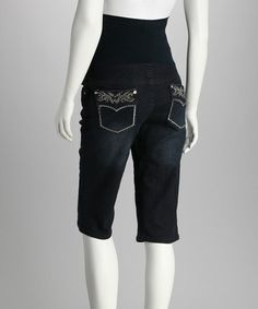 Look at this #zulilyfind! QT Dark Blue Over-Belly Maternity Bermuda Shorts - Women by QT Maternity #zulilyfinds