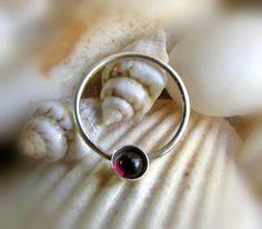 garnet septum ring  cartilage/helix/tragus by LarryJewelryShop