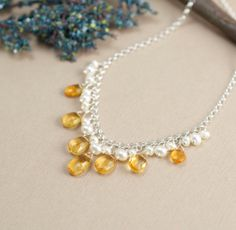 Citrine Necklace with Pearls November Birthstone, gemstone jewelry by BlueRoomGems, $118.00