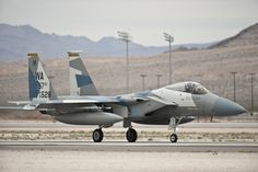 An F-15 Eagle assigned to the 64th Aggressor Squadron taxis after a Red Flag 15-2 sortie at Nellis Air Force Base, Nev., March 11, 2015. Red Flag is a realistic combat exercise involving U.S. and allied air forces conducting training operations on the 15,000 square mile Nevada Test and Training Range. (U.S. Air Force photo by Staff Sgt. Siuta B. Ika)