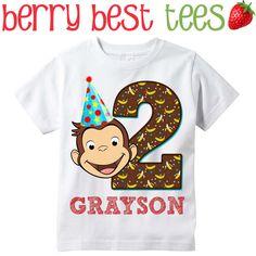 Curious George Birthday Shirt por BerryBestTees en Etsy                                                                                                                                                     Más