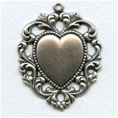 Floral Edged Heart Pendant Oxidized Silver