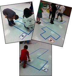 Finding area and perimeter with floor tiles taped off. For older kids, I would adjust the measurement scales - ex :triple the length of each tile, etc.
