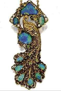 Gold, black opal, diamond, and demantoid garnet peacock pendant necklace, Walton & Co., circa 1900.