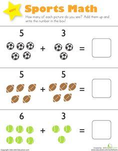 Sports Math Worksheet Education Com Kindergarten Addition Worksheets Addition Kindergarten Kindergarten Math