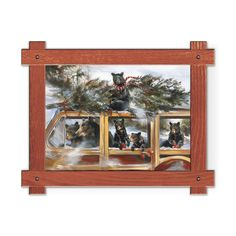 Framed in a rustic-style design, these distressed frames, are the perfect complement to the art they enhance family of six black bears driving an old fashioned woody car with a christmas tree on the top. Art by Mason Maloof Designs.