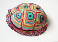need to find more turtle shells... Colorful painted turtle shell with graphic design