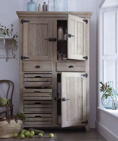 Our wooden Market Larder cupboard in muted limed wood finish is specially designed with crate-style drawers to allow air to circulate in your fruit Woodworking Table Plans, Woodworking Furniture, Woodworking Workbench, Woodworking For Kids, Woodworking Joints, Woodworking Workshop, Woodworking Techniques, Woodworking Crafts, Woodworking Shop
