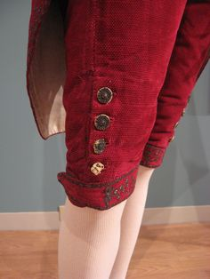 2012-08-25 KSMF -  Red silk velvet men's suit trimmed with silver embroidery and sequins, circa 1770.