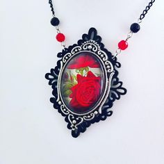 Gothic red rose valentine necklace, gothic jewellery, gothic valentine gift, valentine jewellery gift, glass cameo necklace, silver filigree by MetalLiquor on Etsy