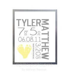 Yellow and Gray Nursery  Personalized Nursery by PitterPatterPrint. Could do this for both the girls