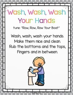 Hand Washing Posters and Songs by Miss Lucy | Teachers Pay Teachers Kindergarten Songs, Preschool Music, Preschool Learning, Preschool Activities, Teaching, Hand Washing Song, Hand Washing Poster, Songs For Toddlers, Kids Songs