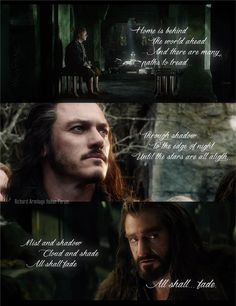 Thanks, I didn't need my heart anyways. (Pippin's Song. Bilbo Baggins, Bard the Bowman, and Thorin Oakenshield.) <- Here's my heart, I don't need it anymore it hurts too much.