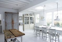 The rustic white kitchen continues Rustic White, Rustic House, Decor, Interior Design, House Interior, Interior, White Kitchen Rustic, Home Decor, Rustic Kitchen