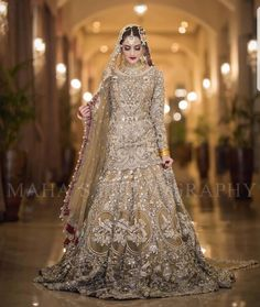 Beautiful Bridal Heavy Work Lahnga in Bronze Golden Color Embellished with Pure Crystals Dabka Nagh Zari Pearls Dull Gold and Silver Load work. Asian Bridal Dresses, Desi Wedding Dresses, Asian Wedding Dress, Bridal Outfits, Indian Dresses, Wedding Gowns, Wedding Groom, Boho Wedding, Bridesmaid Dresses