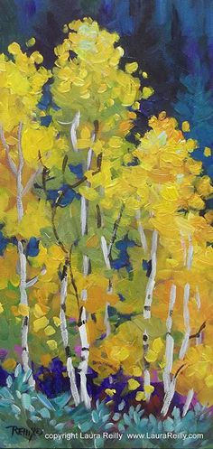 "Colorful Aspens by Laura Reilly Acrylic ~ 12"" x 6"""