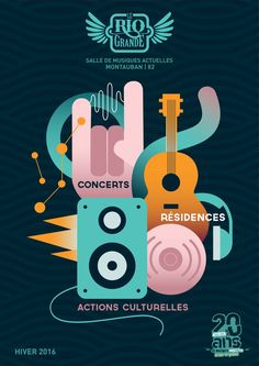 Affiches RIO - Musique, graphisme, concert, affiche, communication, festival, couleur, illustration, vectorielle, géométrique, print
