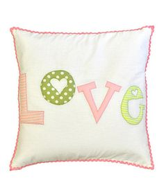 Take a look at this Pink & Green 'Love' Pillow by New Arrivals on #zulily today!