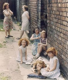Women and Young girls out in the street - Manchester 1965. Things look better in colour!