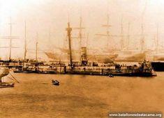 Fotografías Históricas de La Guerra del Pacifico 1879 _ 1884 Fotografía correspondiente a la bahía de Valparaíso, cuando arribo el monitor Huáscar, después de su captura en el Combate de Angamos.