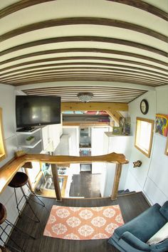 A 200 square feet tiny house on wheels (loft included) in Austin, Texas. Built by Raw Creative Design.
