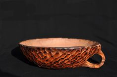 Ceramic hand built Buddha bowl, hand carved, Old wood collection by ArgilLina on Etsy