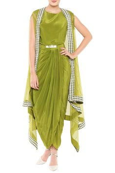 Featuring an olive green draped dress in crepe base with metal belt. It is paired with matching cape jacket in net base with hand embroidery. FIT: Fitted at bust. CARE: Dry clean only. Indian Fashion Dresses, Indian Gowns Dresses, Dress Indian Style, Indian Designer Outfits, Indian Outfits, Designer Dresses, Stylish Dress Designs, Stylish Dresses, Salwar Kameez