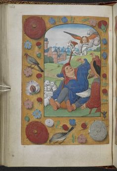 Seated shepherd with angel above and strewn border, Netherlands, S. (Bruges), c. 1500, from 'Anne Boleyn's Book of Hours'