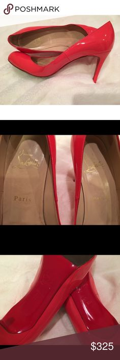 Christian Louboutin Simple Pump RE POSH! They were one size too big!! They need to go to a good home where you can replace the bottom tips. Last posher noted she had the toes treated for non-slip. Full red bottom can be re-done according to my cobbler here in NYC. ❤️ GORGEOUS coral color ready for spring/summer! Happy to provide any additional pictures and open to offers! Christian Louboutin Shoes Heels