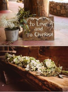 Wedding sign at Rustic and Earthy Wedding in the Mountains