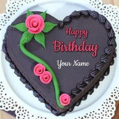 Heart Shaped Choco Truffle Birthday Cake With Your Name