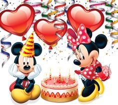 Mickey and Minnie Disney Happy Birthday Images, Disney Birthday Wishes, Happy Birthday Mickey Mouse, Happy Birthday Celebration, Happy Birthday Cards, Birthday Greetings, Mickey And Minnie Love, Mickey Mouse And Friends, Mickey Minnie Mouse