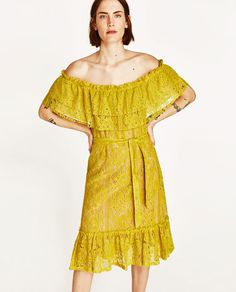 Image 2 of LACE DRESS WITH RUFFLED NECKLINE from Zara