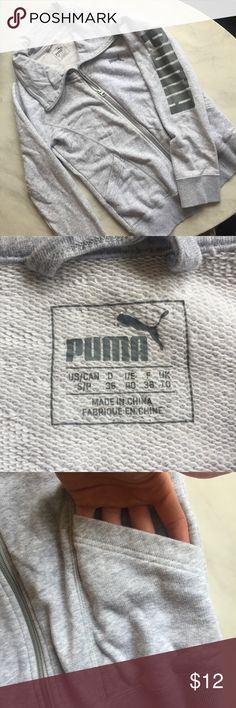 "Puma Zip Up Jacket Heather gray zip up Puma jacket. Lightweight, Soft and comfy. Pockets in the front and ""puma"" written down the left arm. Great for the gym! Perfect condition only worn twice. Puma Jackets & Coats"