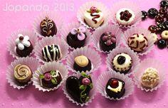 JOPANDA lampwork Beads handmade SRA - Chokolate in a Box incl paperramekins (31)