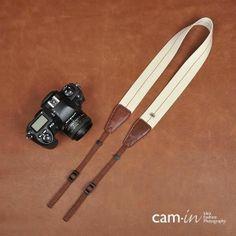 8032-2 Cam-in cotton shoulder neck strap for DSLR    creamy white  black stripe