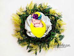 Newborn picture. Mustard yellow newborn wreath. Mustard yellow jersey knit wrap. @jannahokinsonphotography