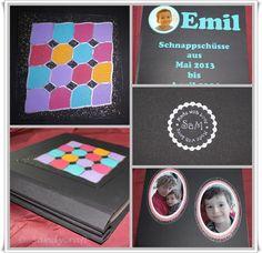 """Full-Size (12 x 12"""") Foto-Album - aus bezogener Graupappe & Buchleinen, mit Schraubenbindung, Papier-Mosaik-Front"""