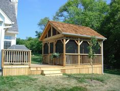 Screened Gazebo - There is nothing more relaxing than spending time in the outdoors. You can play with the kids, barbecuing with friends, or just find your own. Enclosed Gazebo, Screened In Deck, House Front Door, House With Porch, Backyard Gazebo, Patio, Backyard Pavilion, Wooden Screen Door, Screen House