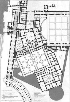 Architectural Drawing Patterns Plan of the ground floor of the Papal Palace, the Vatican, by Paul Marie Letarouilly Baroque Architecture, Islamic Architecture, Architecture Drawings, Classical Architecture, Architecture Plan, The Plan, How To Plan, Le Vatican, St Peters Cathedral